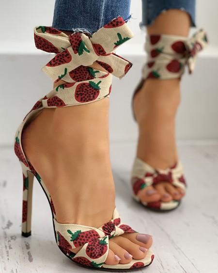 Fruit Print Twisted Detail Peep Toe Stiletto Heel