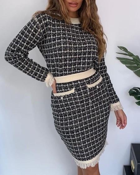 Grid Tassel Design Top & Pocket Design Skirt Sets