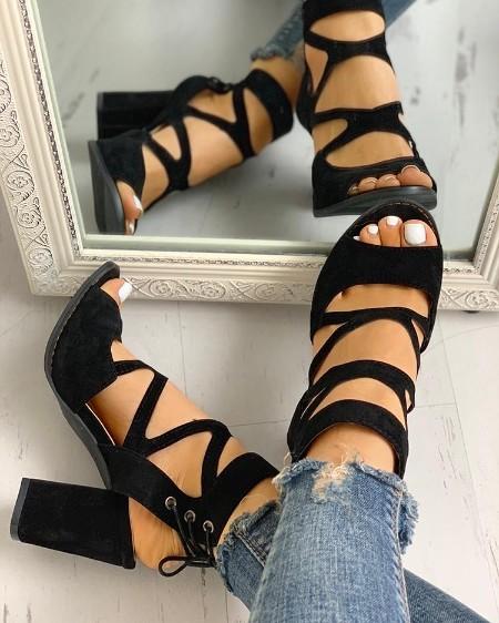 Peep Toe Crisscross Chunky Heeled Sandals