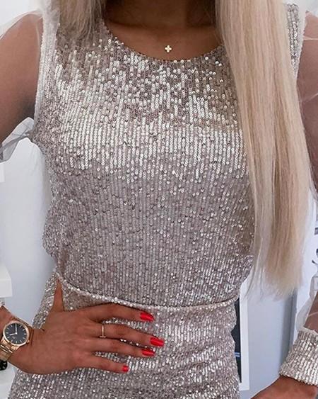 Sequined Mesh Sleeve Mini Dress