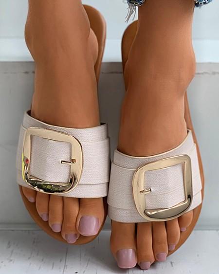 Plain / Cheetah Print Buckled Flat Sandals