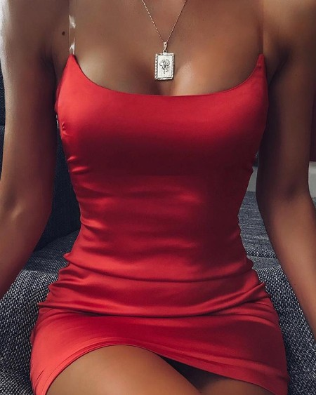 Red Bodycon Mini Slip Dress