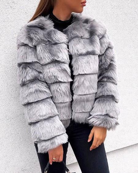 Solid Fluffy Furs Long Sleeve Coat