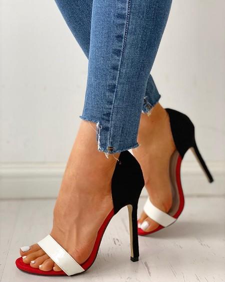 449f3da889 Open Toe Colorblock Thin Heeled Sandals Open Toe Colorblock Thin Heeled  Sandals