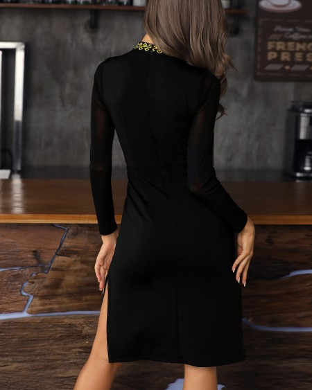 Vintage Embroidery Side Slit Long Sleeve Dress