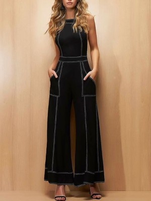 Contrast Binding Crisscross Back Pocket Jumpsuits
