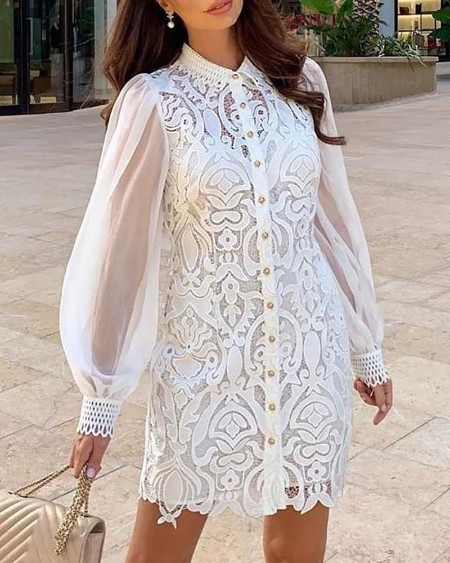 Lace Embroidery Buttoned See Through Dress