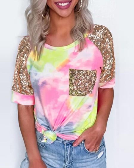 Tie Dye Print Sequins Pocket Design Casual T-shirt