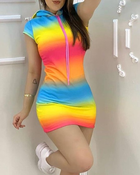 Tie Dye Print Colorblock Hooded Dress