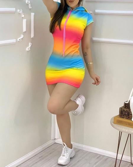 Tie Dye Print Colorblock Hooded Dress