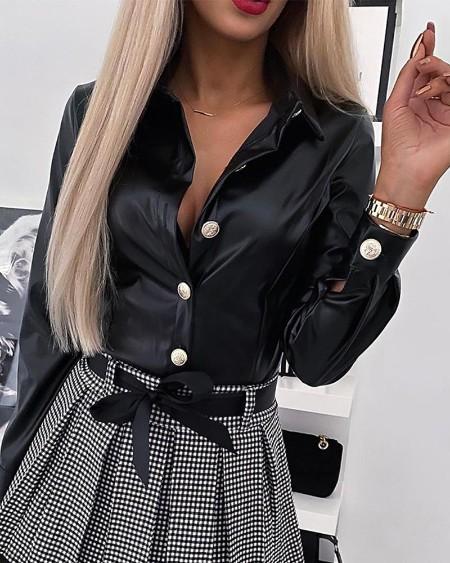 PU Button-Up Shirt
