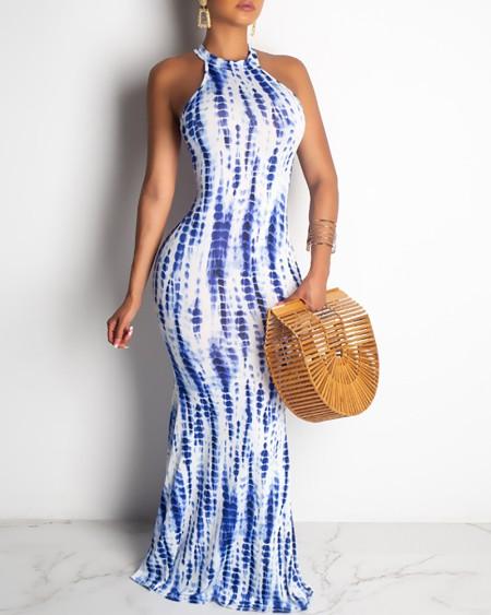 Tie Dye Print Halter Maxi Dress