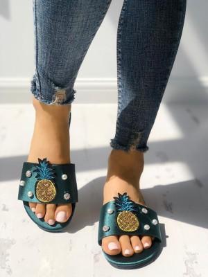 Pineapple Embellished Single Strap Sandals