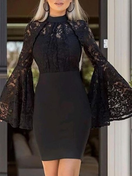 Bell Sleeve Lace Bodice Bodycon Dress