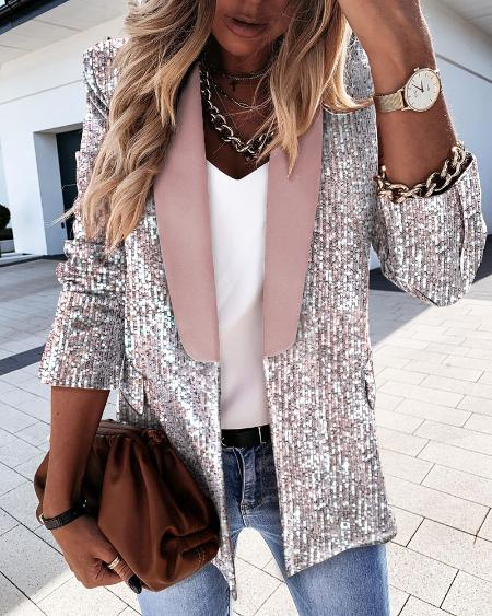 Sequins Colorblock Long Sleeve Blazer Coat