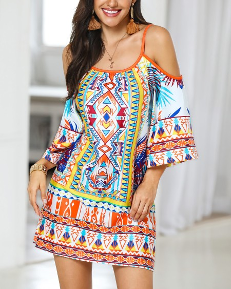 Ethnic Print Cold Shoulder Casual Dress