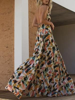 Mixed Print Backless Halter Maxi Dress