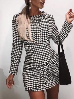 Single Breasted Flounced Hem Tweed Dress