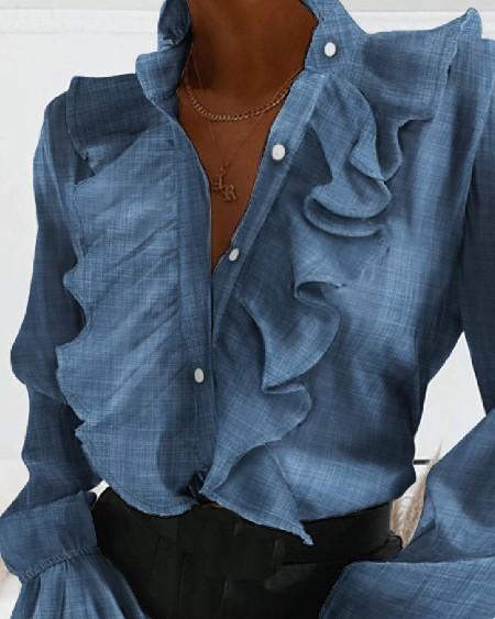 Long Sleeve Ruffles Design Blouse