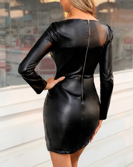 Solid Zipper Bodycon Mini Dress
