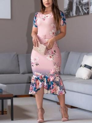 Floral Print Belted Pep Hem Bodycon Dress