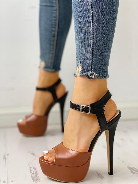 Contrast Color Platform Thin Heeled Sandals