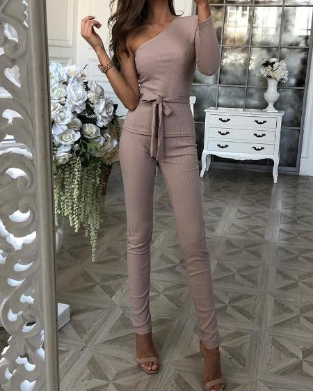 boutiquefeel / One Sleeve Tie Waist Top & Long Pants Sets