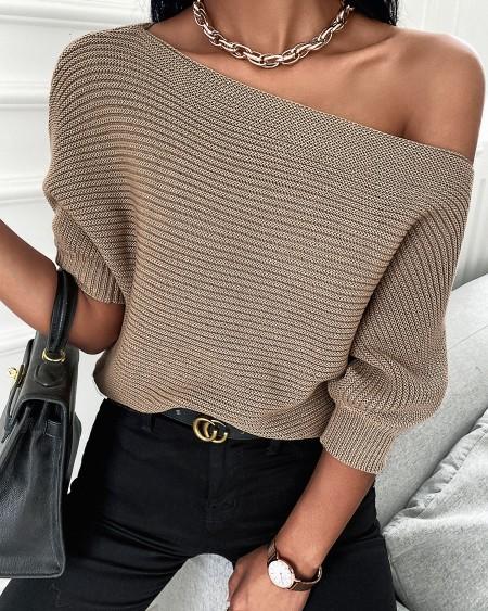Plain Half Sleeve Casual Sweater