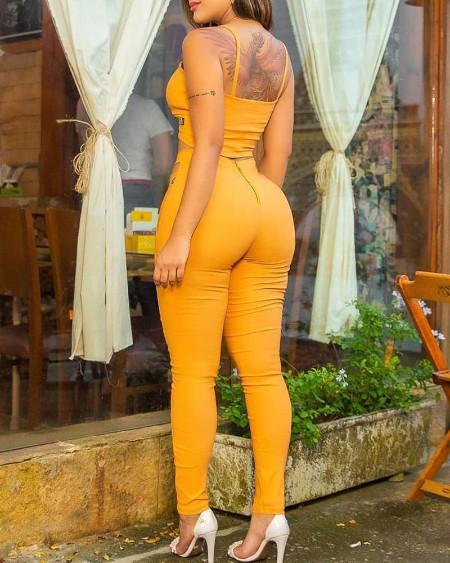 Solid Cami Top & Cutout Waist Pants Set