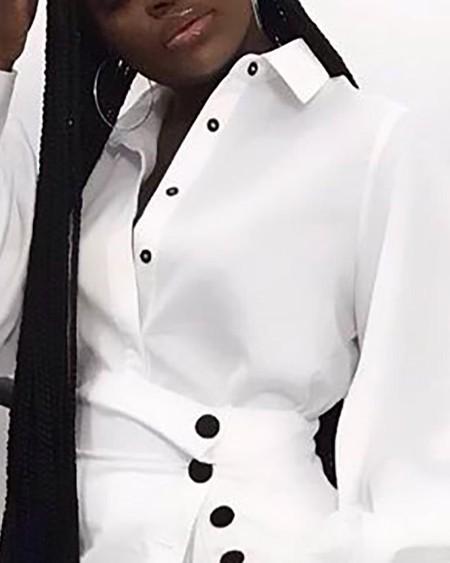 Lantern Sleeve Buttoned Shirt Dress