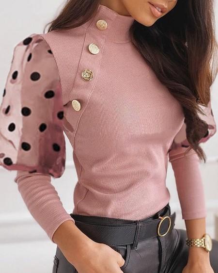 Mesh Dot Puffed Sleeve Buttoned Blouse