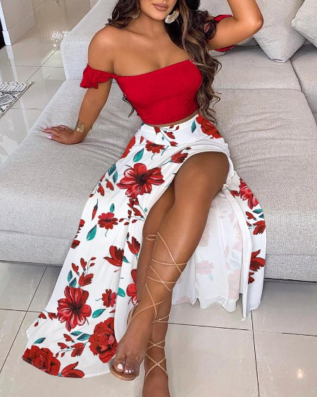 Off Shoulder Ruffles Top & Floral Print High Slit Skirt Set
