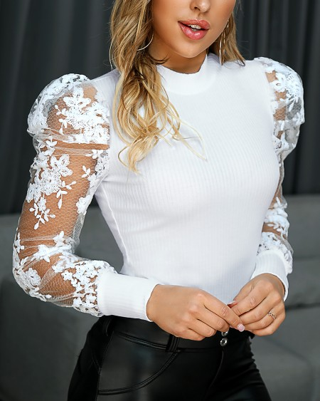 Lace Puff Sleeve Knit Top