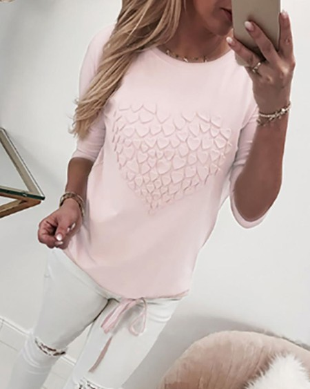 Heart Pattern Drawstring Design Top