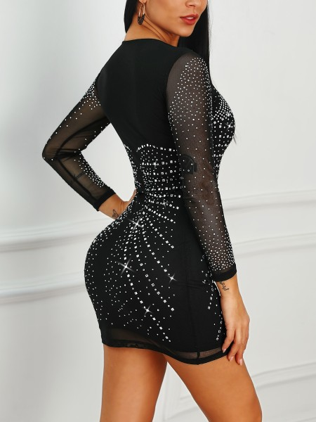 Hot Stamping Mesh Sleeve Bodycon Dress