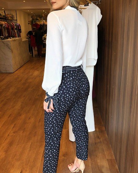 Tied Detail Top & Polkadot Print Pants Set
