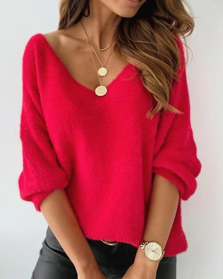 Long Sleeve Fluffy Plain Sweater