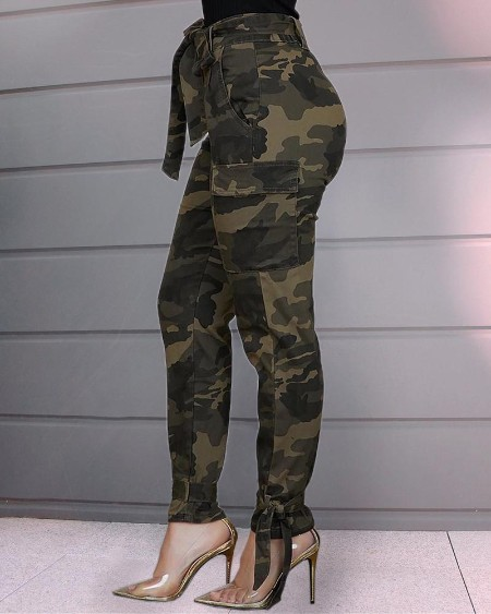 Tied Camouflage Casual Pants