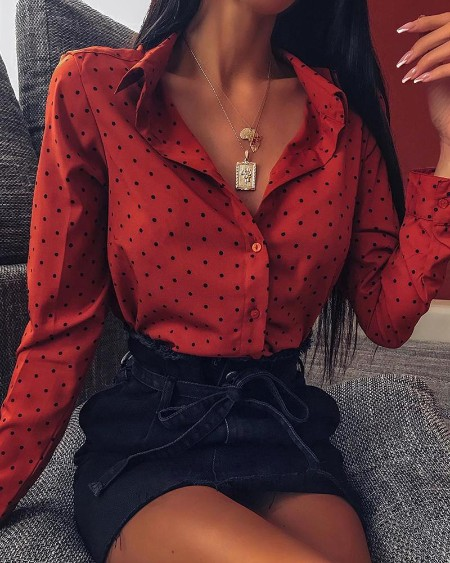 Polka Dot Button-Up Blouse