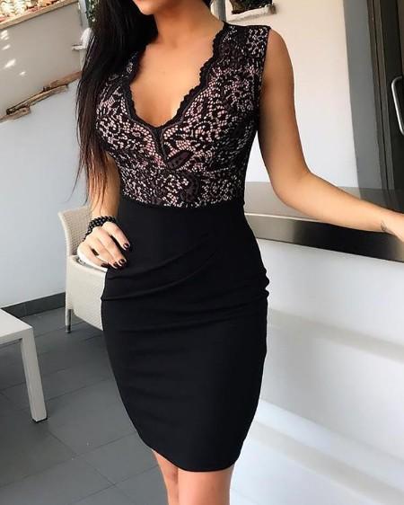Lace Splicing Black Sheath Dress