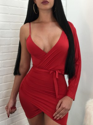 Sexy Wrapped V Neck Cocktail Party Mini Dress