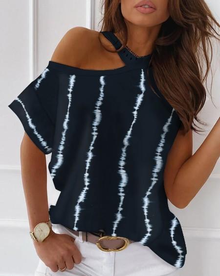 Tie Dye Print Cold Shoulder Casual T-shirt