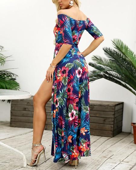 Off Shoulder Tropical Print Thigh Slit Maxi Dress