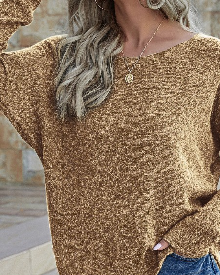 Plain Log Sleeve One Shoulder Sweater