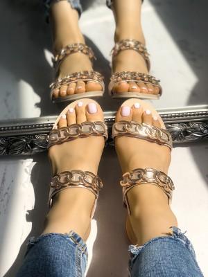 Chain Design Double Buckle Flat Sandals
