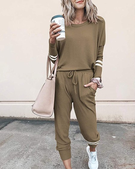 Solid Long Sleeve T-shirt With Pants Suit Sets