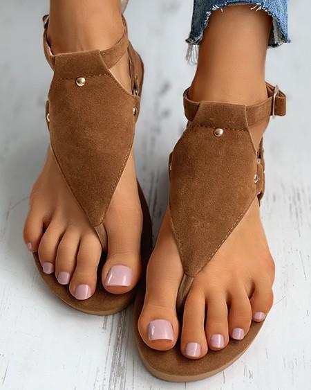 Toe Post Rivet Buttoned Slingback Sandals