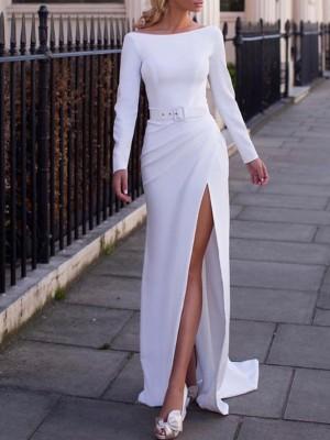 Solid Off Shoulder Thigh Slit Dress