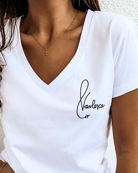 V Neck Letter Print Casual T-shirt