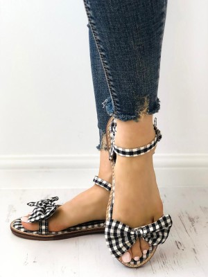 Grid Bowknot Decorated Buckled Flat Sandals